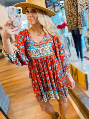 LOST IN THOUGHT TUNIC DRESS-RED FLORAL - Infinity Raine
