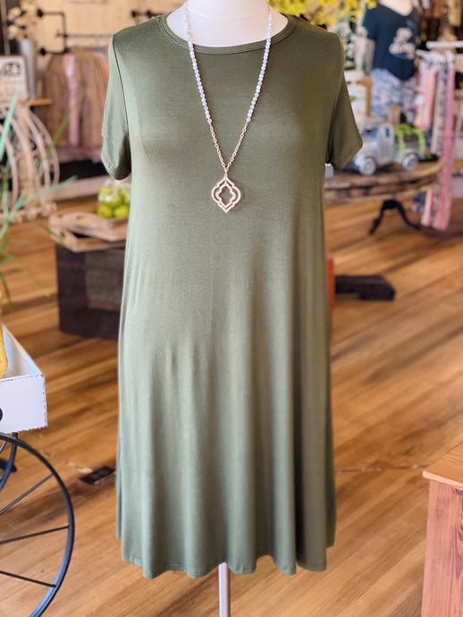 EVERYWHERE I GO PLUS SIZE SWING DRESS-OLIVE - Infinity Raine