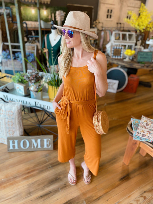 EYE CANDY PINSTRIPE WIDE LEG JUMPSUIT-BURNT ORANGE - Infinity Raine