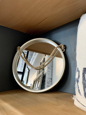 CHAMPAGNE WALL MIRROR W/ROPE HANGER - Infinity Raine