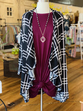 Load image into Gallery viewer, MISS LILI PLUS SIZE PLAID WATERFALL FRONT OPEN CARDIGAN-BLACK - Infinity Raine
