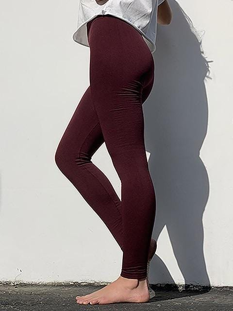 EVERYDAY ESSENTIAL LEGGINGS- BURGUNDY - Infinity Raine