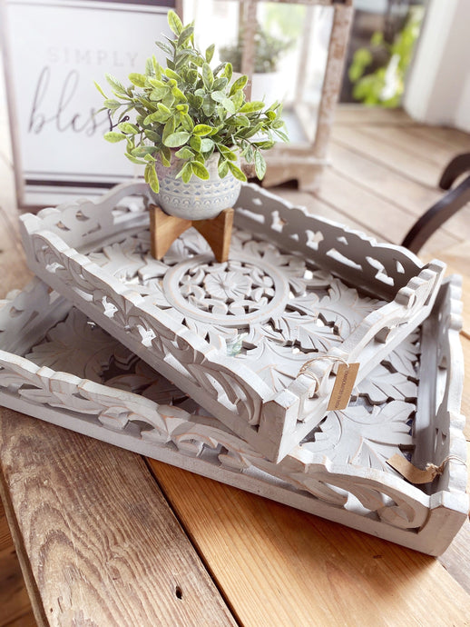 DECORATIVE SCROLL CARVED WOODEN TRAY - Infinity Raine