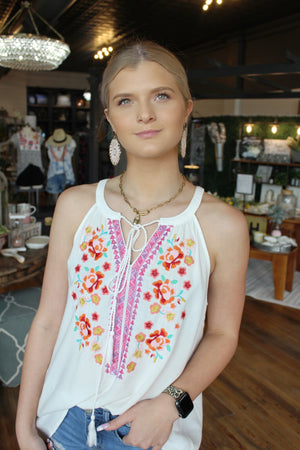 Summer Commitments Embroidered Tank Top-White - Infinity Raine