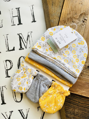 Keep Me Warm Cap & Mitten 6 Piece Set-Yellow - Infinity Raine