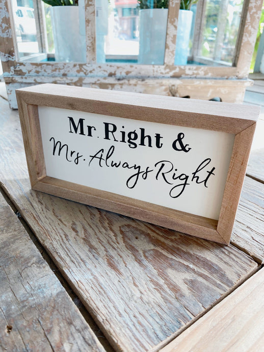 MR AND MRS RIGHT WOOD BOX SIGN