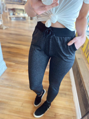 LIVING FOR COMFORT JOGGERS-CHARCOAL GREY - Infinity Raine
