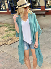 Load image into Gallery viewer, ALL I NEED OPEN WEAVE SEQUIN KIMONO-TEAL - Infinity Raine