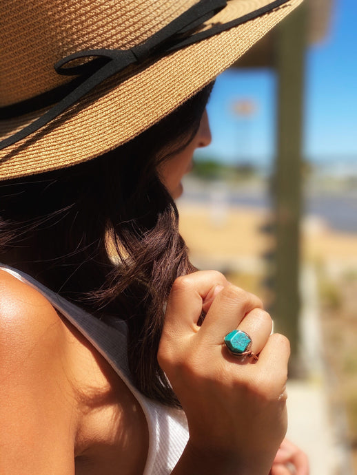 STATEMENT BOHEMIAN STONE WIRE RING COPPER/FLAT STONE - Infinity Raine