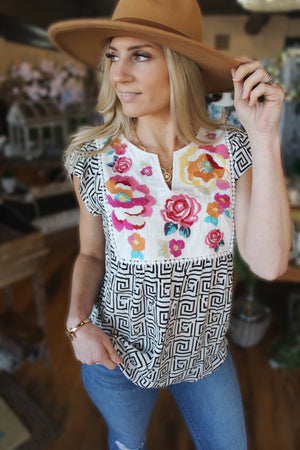 Beautiful Morning Floral Embroidered Blouse-Ivory - Infinity Raine
