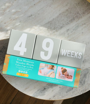 First Moments Wooden Blocks-Gray - Infinity Raine