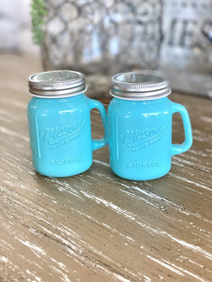 CERAMIC MASON JAR SALT & PEPPER SHAKERS-BLUE - Infinity Raine