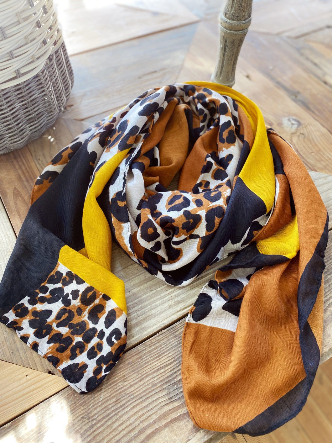 DRESS ME UP LEOPARD SCARF- RUST, MUSTARD, BLACK, AND LEOPARD - Infinity Raine