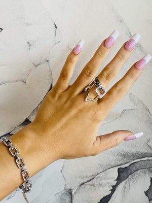 Texas Has My Heart Wrap Around Ring-Silver - Infinity Raine