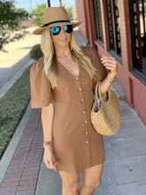 Load image into Gallery viewer, THE ONE THAT GOT AWAY SHIFT DRESS- CAMEL - Infinity Raine