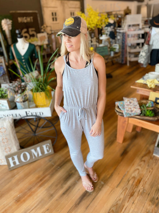 FEELING CLOSER TO YOU DRAWSTRING WAIST TANK JUMPSUIT-HEATHER GREY - Infinity Raine