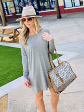 Load image into Gallery viewer, LET'S CHILL T-SHIRT DRESS-HEATHER GREY - Infinity Raine