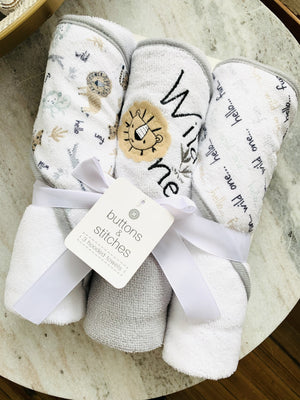 Cute As A Button Set Of Hooded Towels-Jungle - Infinity Raine