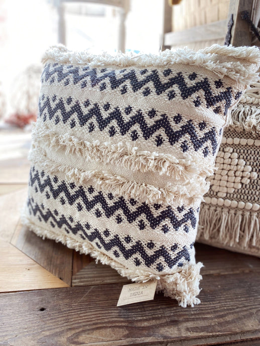 ZIG ZAG COTTON FRINGE THROW PILLOW - Infinity Raine