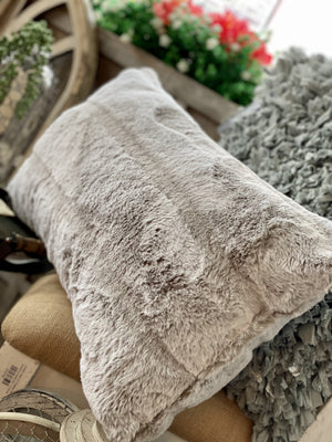 Up Next Faux Fur Rectangle Pillow-Beige - Infinity Raine
