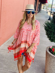 JUST BE YOU TASSEL PONCHO-CORAL - Infinity Raine