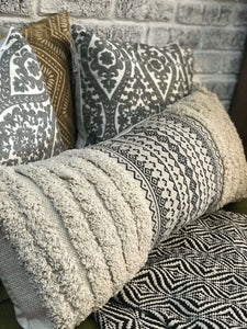 AZTEC FRINGE LUMBAR PILLOW- CREAM - Infinity Raine