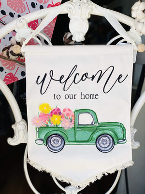 Welcome To Our Home Easter Sign-Cream - Infinity Raine