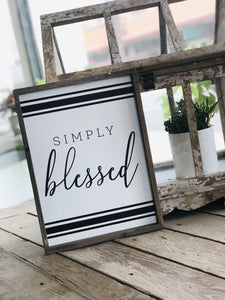SIMPLY BLESSED WOODEN SIGN-WHITE - Infinity Raine