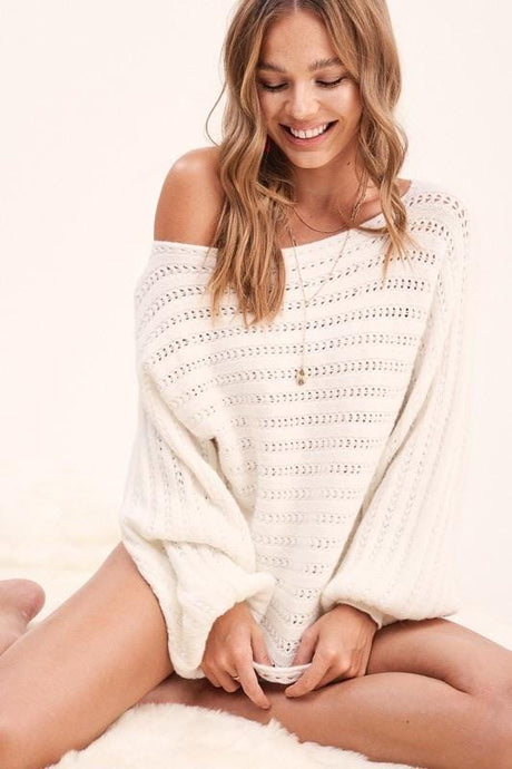 STAY AWHILE BOAT NECK SWEATER-IVORY