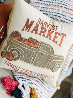 HARVEST MARKET FRESH PICKED PUMPKINS DECORATIVE PILLOW - Infinity Raine