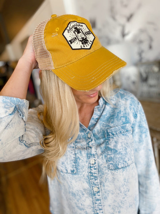 ADVENTURE LIES IN THE UNSEEN DISTRESSED BASEBALL HAT- MUSTARD - Infinity Raine