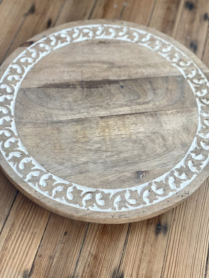 ROUND ABOUT WOOD HAND CARVED LAZY SUSAN-WHITE - Infinity Raine