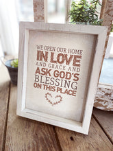 Load image into Gallery viewer, WE OPEN OUR HOME IN LOVE BOX SIGN WALL ART - Infinity Raine