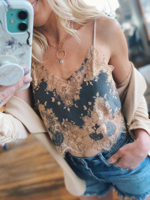 Out For The Night Lace Cami Top-Nude - Infinity Raine