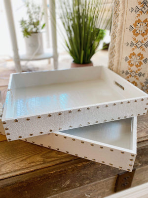 Take You Out Faux Leather Tray-White - Infinity Raine