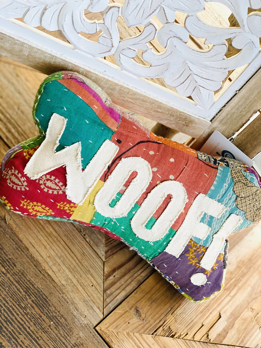 KANTHA THROW PILLOW-WOOF