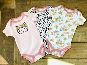 CHICK PEA 3PK BEAUTIFUL BODYSUIT-INFANT GIRL 6-9 MONTHS - Infinity Raine