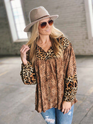 NOTHING BETTER MIXED PRINT TOP-MIXED ANIMAL PRINTS - Infinity Raine