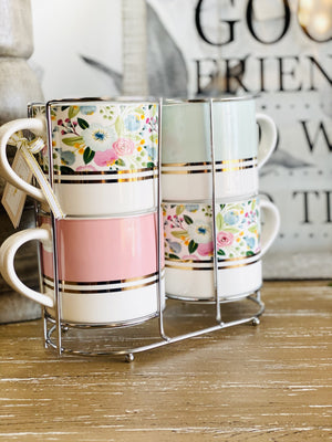 English Garden Pastel 4pc Coffee Mug Set - Infinity Raine