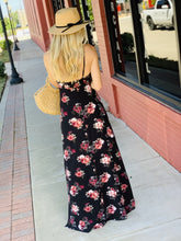 Load image into Gallery viewer, TRADE THE WORLD FLORAL MAXI DRESS-BLACK - Infinity Raine
