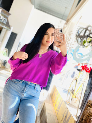 THE RIGHT ONE SOFT LUXE PULLOVER CROP SWEATER-MAGENTA - Infinity Raine