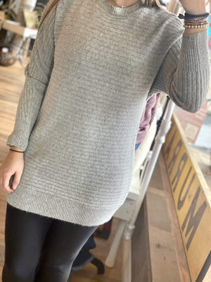 THE ONE YOU WANT DOLMAN SLEEVE SWEATER-HEATHER GRAY - Infinity Raine