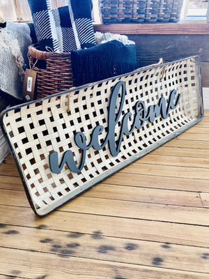 WELCOME METAL BASKET WALL DECOR SIGN - Infinity Raine
