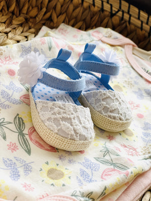 These Are My Church Shoes Lace Shoes-White/Baby Blue - Infinity Raine