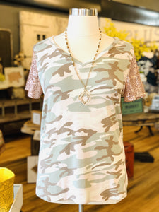 SOUNDS LIKE FUN GLITTER SLEEVES CAMO PLUS SIZE TOP-PINK CAMO - Infinity Raine