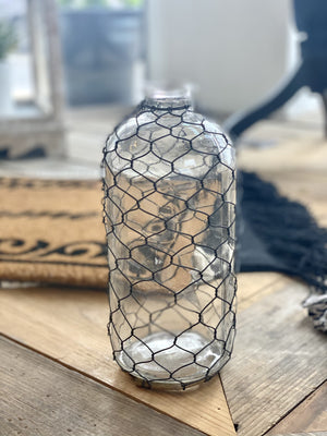 RUSTIC CHARM BOTTLE WITH CHICKEN WIRE-MEDIUM - Infinity Raine