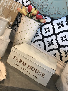 FARM HOUSE LOCAL DISTRESSED METAL BOX WITH LID-OFF WHITE/BROWN - Infinity Raine