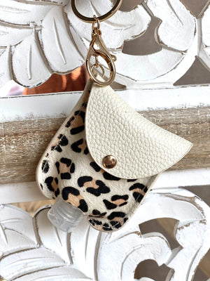 CUTE AND CLEAN HAND SANITIZER KEY CHAIN HOLDER-WHITE LEOPARD - Infinity Raine