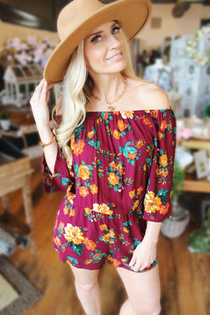 One More Chance Off-The-Shoulder Romper-Burgundy - Infinity Raine
