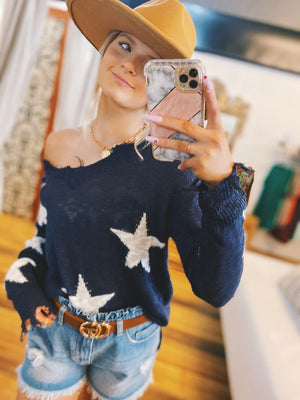 FEELING LIKE A STAR DESTROYED SWEATER-NAVY - Infinity Raine